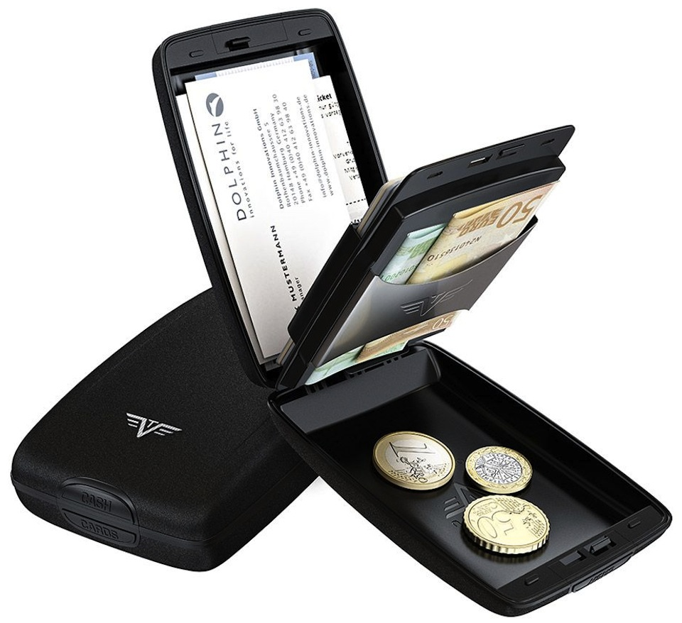 Cadou de Craciun Portofel aluminiu mat negru Cash & Cards Tru Virtu – Silk Line